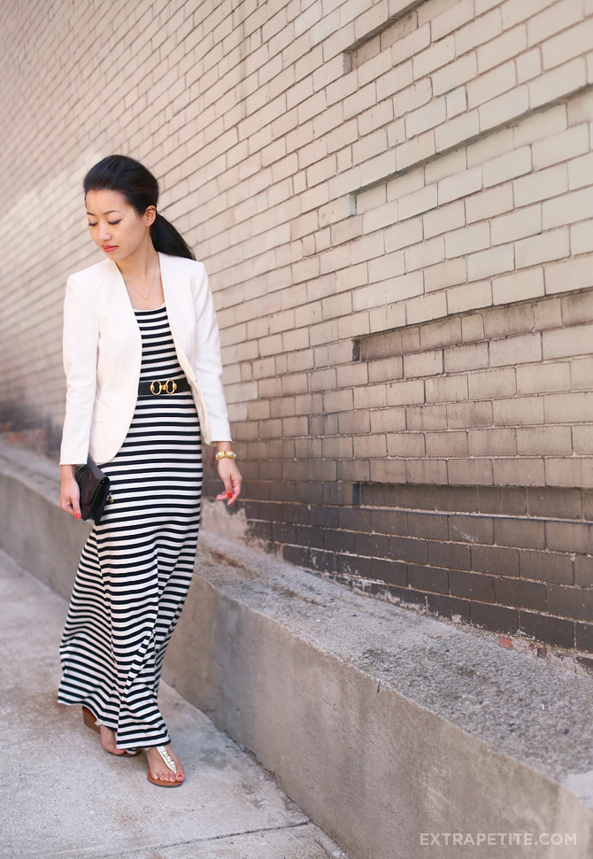 striped maxi dress ivory blazer3