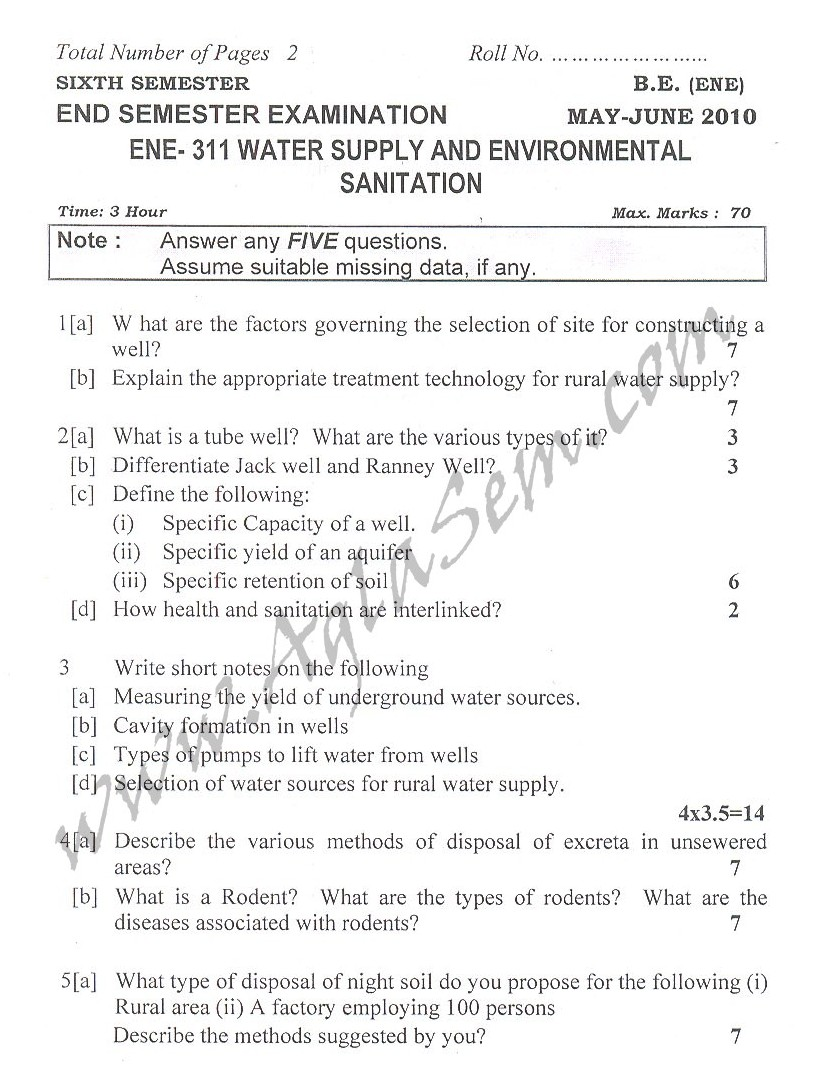 DTU Question Papers 2010 – 6 Semester - End Sem - ENE-311
