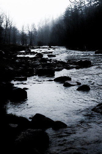 blackandwhite mountains misty river landscape stream gloomy rainy wilsoncreek