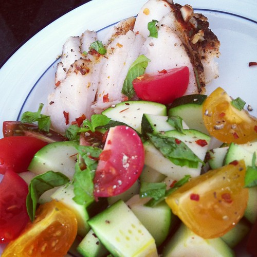 Sea Bass with tomato zucchini basil salad