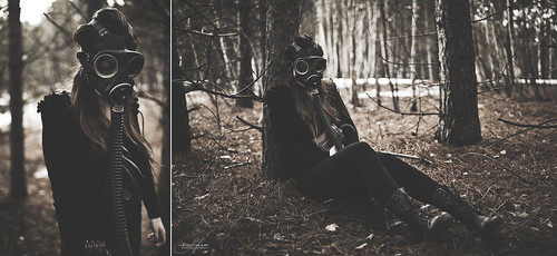 old trees portrait ontario canada 35mm vintage fun outdoors model woods nikon dof sad mask bokeh 14 wwii naturallight creepy sudbury gasmask shallow scared fullframe fx tones lively d700 jordanvoth rokinon35mm14 authenticgasmask
