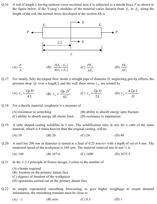 GATE 2013 Question Papers with Answers - Production and Industrial Engineering [PI]