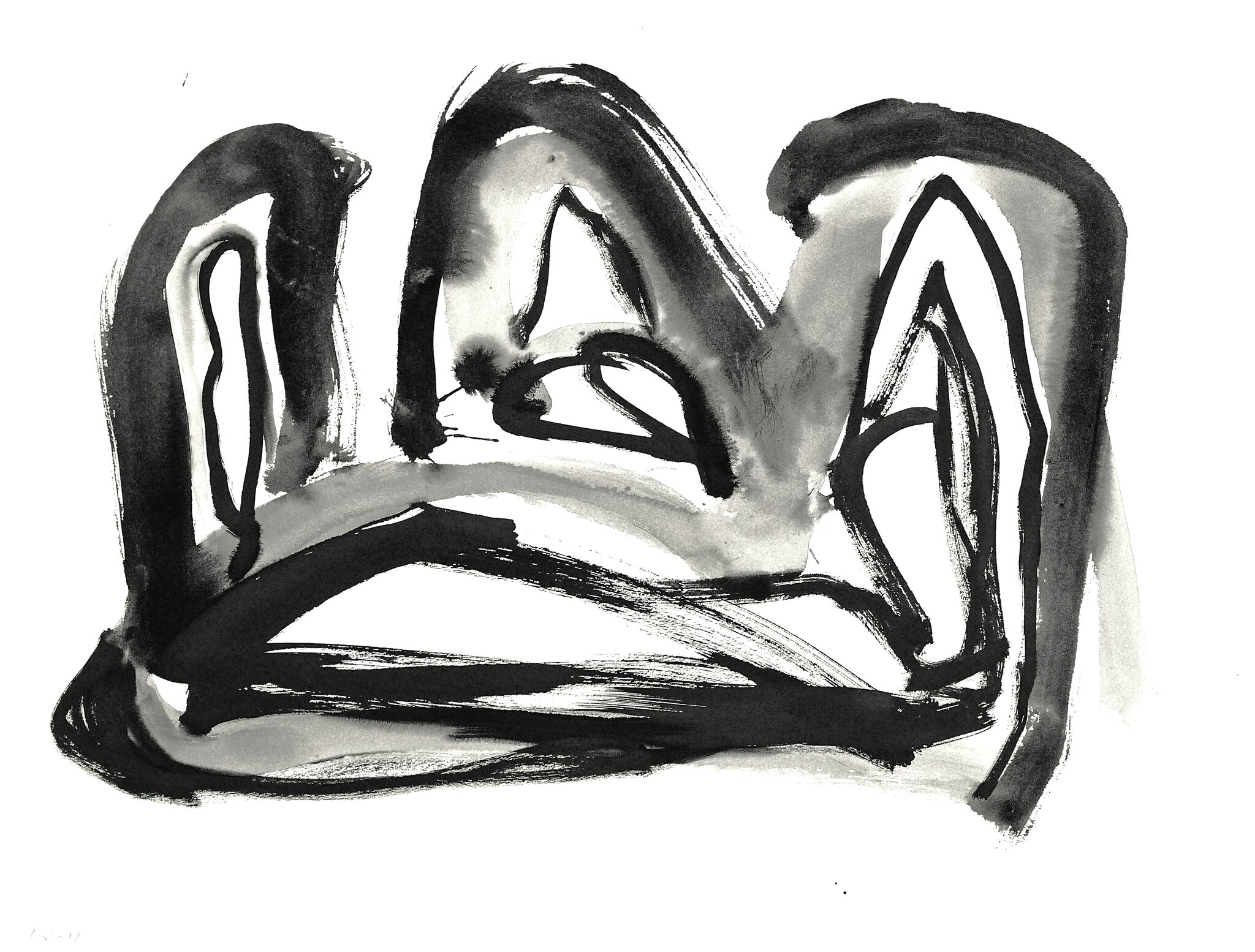 1996 - 'Abstract landscape in line' art on paper no. 6.199a' Indian ink drawing on paper; Dutch Abstract Expressionism art / Hollands abstract-expressionisme; free image in public domain / Commons, CC-BY – painter-artist, Fons Heijnsbroek