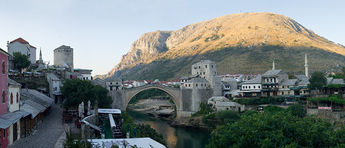 mostar stari most old bridge sunrise panorama balkans river neretva bosnia herzegovina summer diving unesco world heritage site unity peace europe dawn