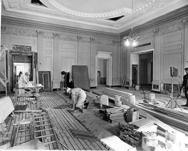 Northeast View of the State Dining Room during the White House Renovation, 01/23/1952