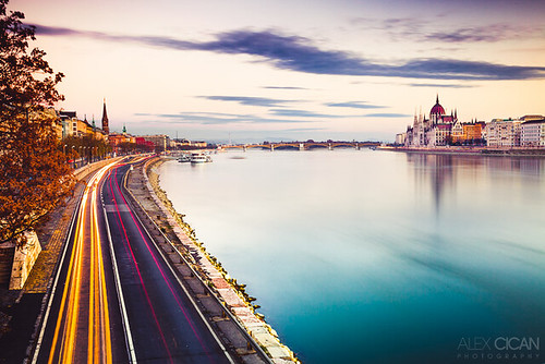 longexposure morning river hungary traffic budapest promenade danube