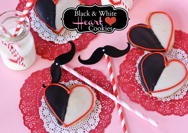 Heart Shaped Black and White Cookies for Valentine's Day