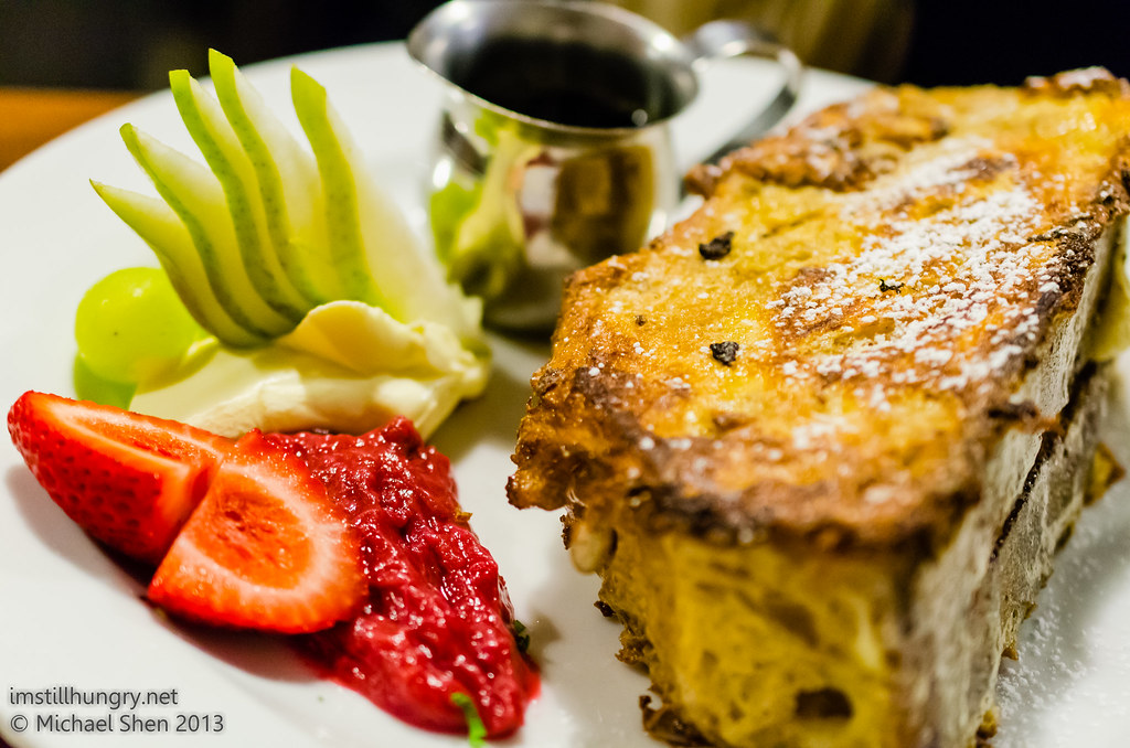 Four Ate Five French toast stuffed w/bananas & served w/maple syrup, mascarpone & rhubarb