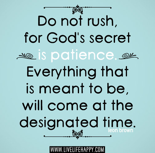 Do not rush, for God's secret is patience. Everything that is meant to be, will come at the designated time. -Leon Brown