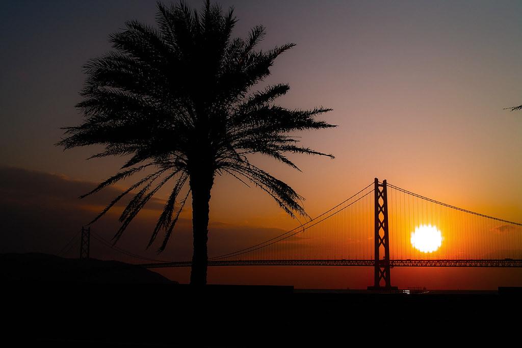 明石海峡大橋 夕景