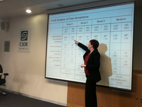 Dr. Kim Nolan (International Studies, CIDE Santa Fe) explaining her research