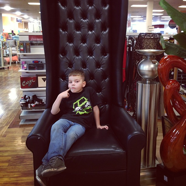 Trying out chairs with super tall backs @Homegoods.