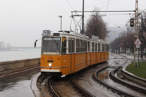 Tram running beside the Danube River in Budapest