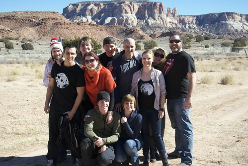 <p>Members of Tricklock Theatre Company and Teatr Figur Krakoów pose for a group photo in the Zuni Pueblo in New Mexico.</p>