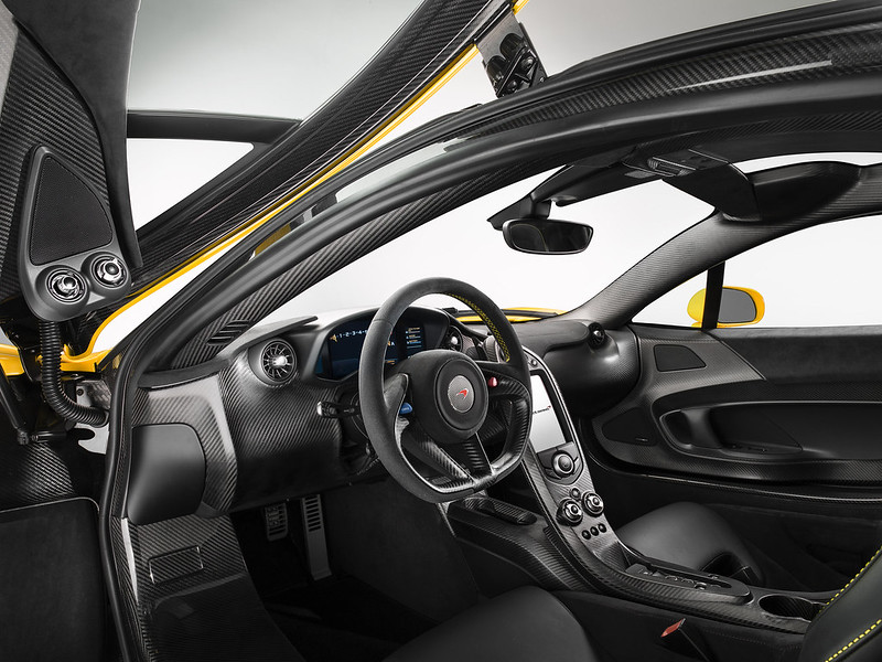 McLaren P1 Yellow Geneva interior
