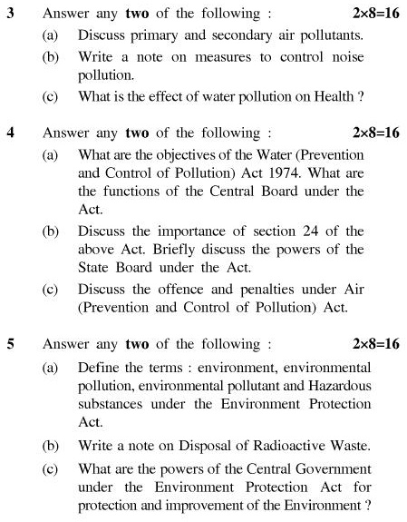 UPTU B.Pharm Question Papers PHAR-366 - Environment & Ecology