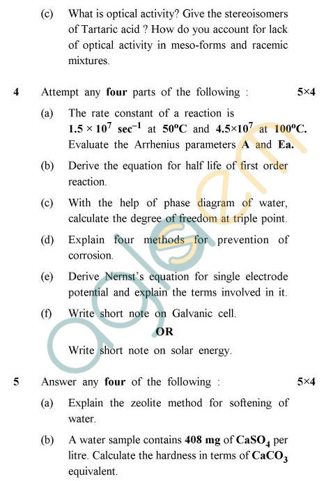 UPTU B.Tech Question Papers -TAS-202/CY-201 - Chemistry