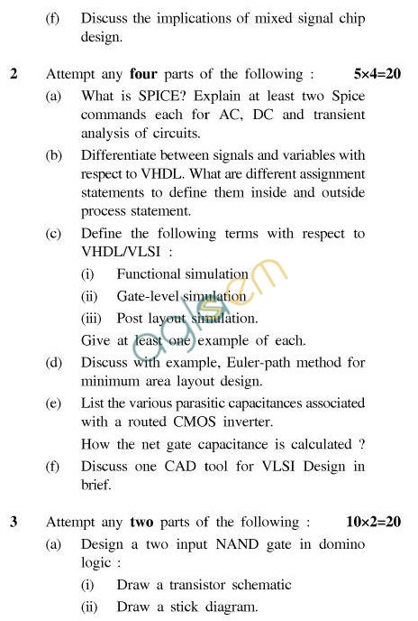 UPTU B.Tech Question Papers - EC-023-VLSI for Telecommunication