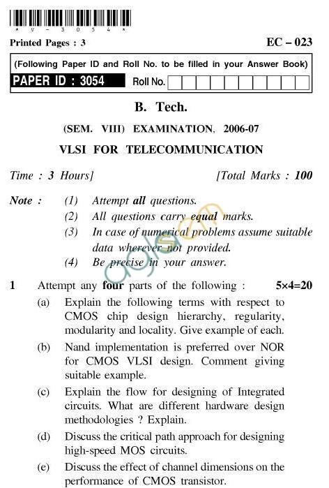 UPTU B.Tech Question Papers -EC-023-VLSI for Telecommunication