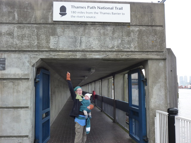 Catherine and Sam at the start of the Thames Path National Trail