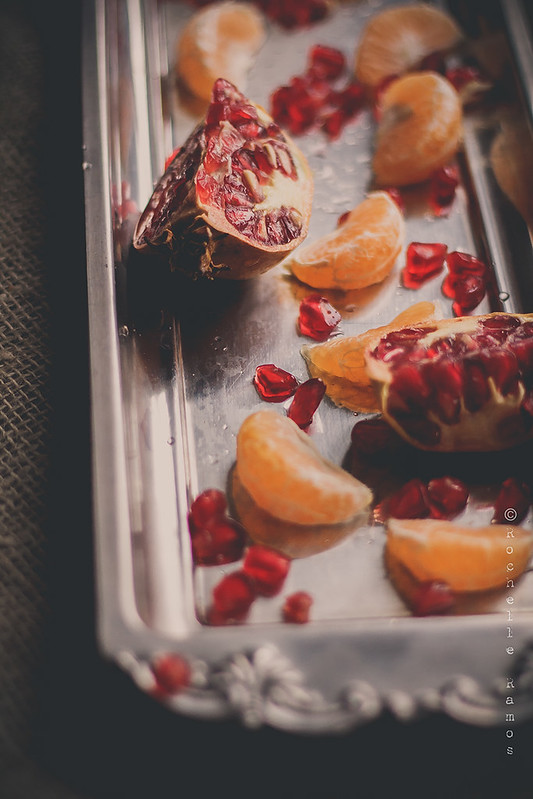 Pomegranate seeds and Clementine segments