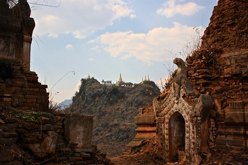 Monastery view from a hill full of stupas