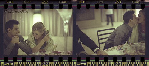 35mm film strip of young couple in wedding shots 22 & 23 - Edward Olive photographer fotógrafo photographe Fotograf by Edward Olive Actor Photographer Fotografo Madrid