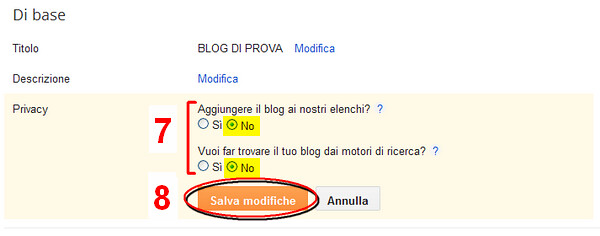7_PRIVACY, Come aprire un blog in Blogger