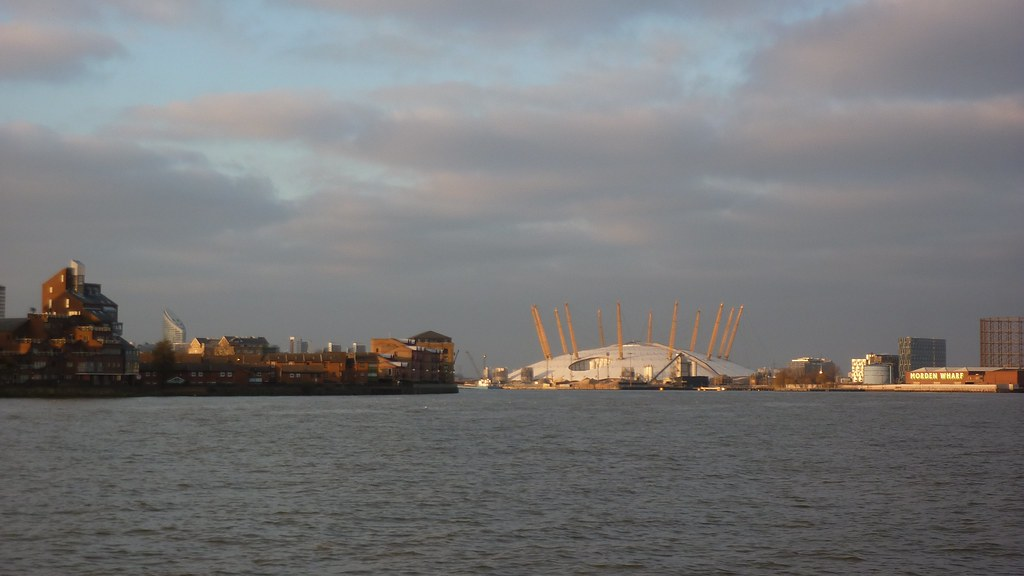 Looking down the Thames to the O2 Arena