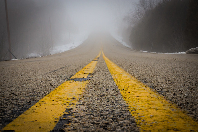 Road, Yellow Line, Fog, Foggy, Rural, Perspective, Bill Pevlor, Pops Digital