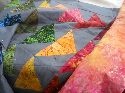 basted rainbow geese quilt