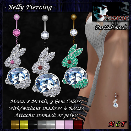 P Rabbit Belly Piercing ~8 Metals-9 Gems~ (P-MESH)