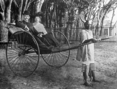 Dick and Cissie Rodgers in a rickshaw, Cape Town, South Africa, ca. 1905