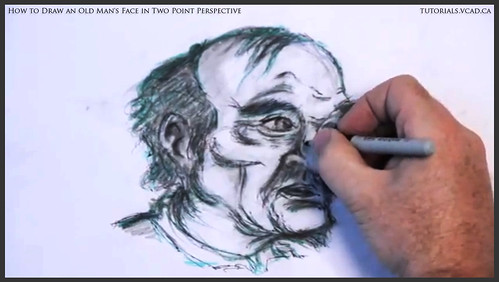 learn how to draw an old man's face in two point perspective 043