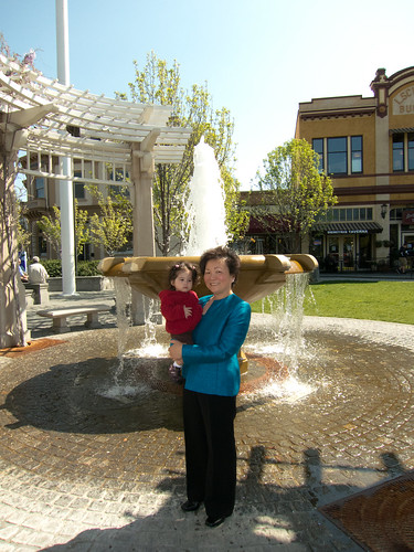 Scarlett and Grandma and a Fountain