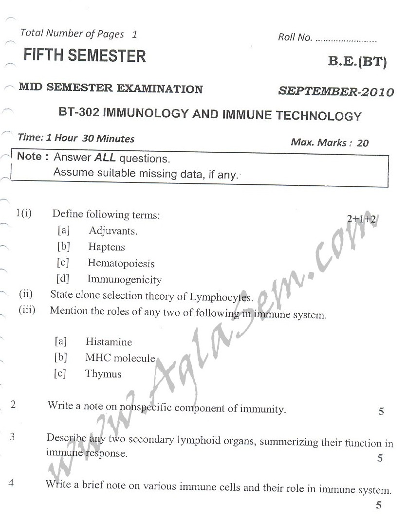 DTU Question Papers 2010 – 5 Semester - Mid Sem - BT-302