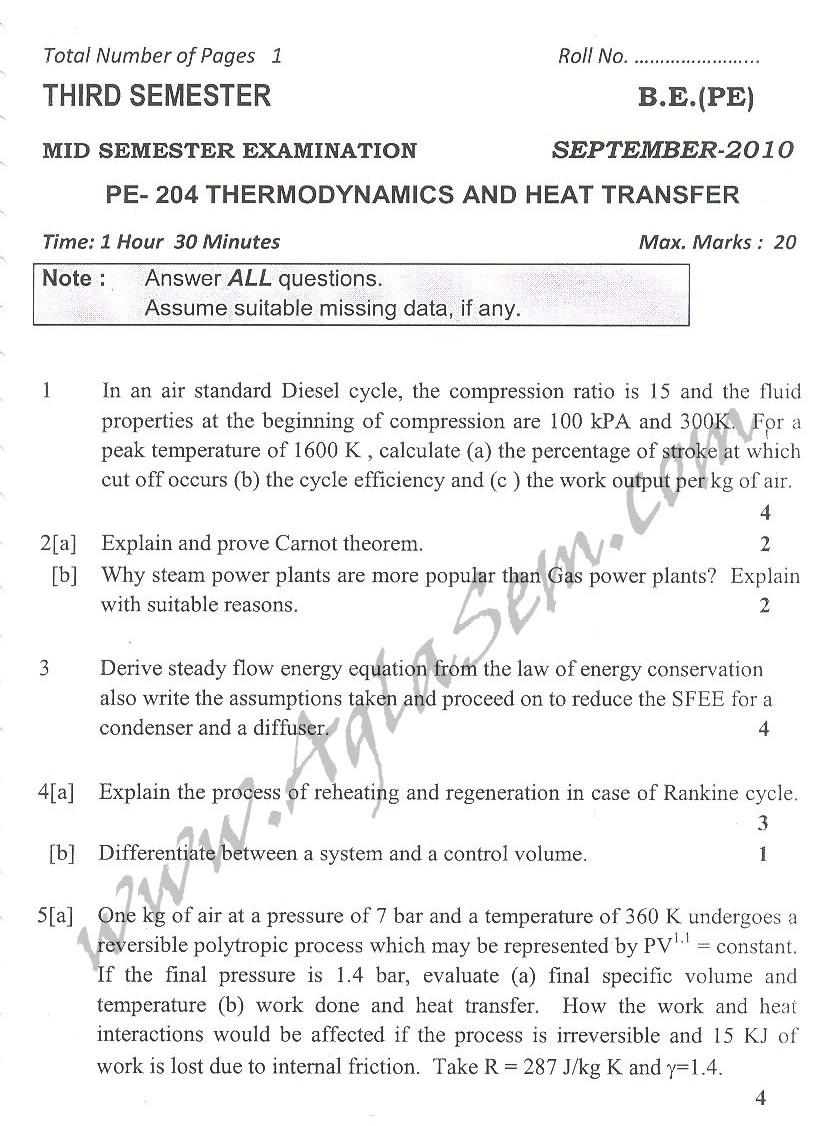 DTU Question Papers 2010 – 3 Semester - Mid Sem - PE-204