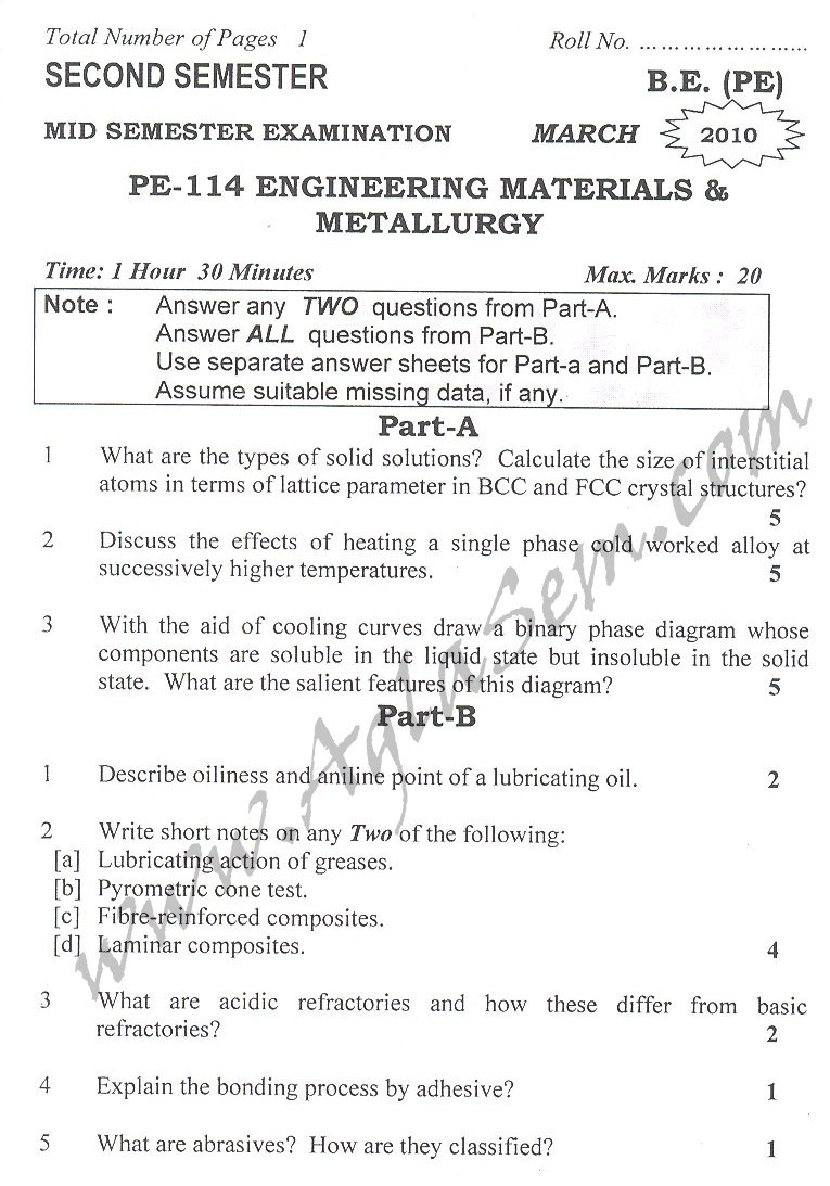 DTU Question Papers 2010 – 2 Semester - Mid Sem - PE-114