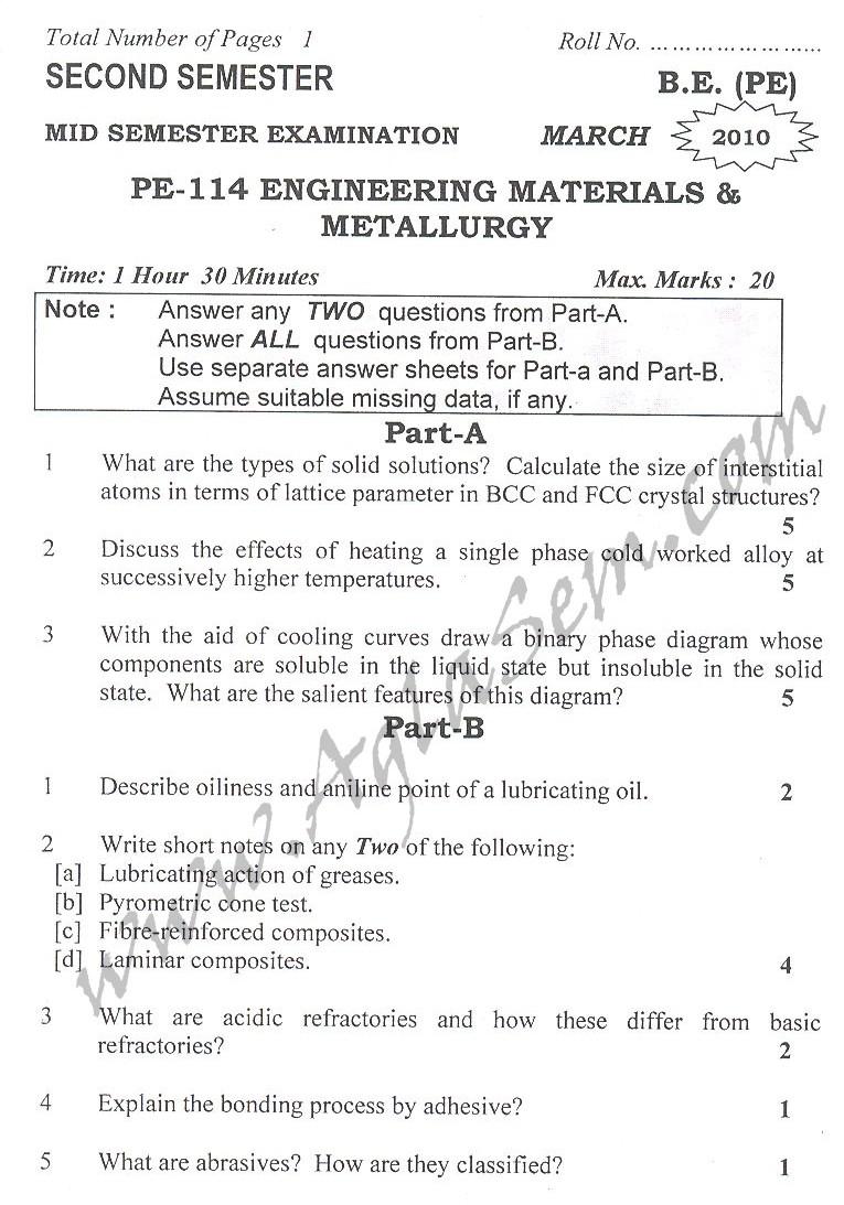 DTU Question Papers 2010 – 2 Semester - Mid Sem - PE-114