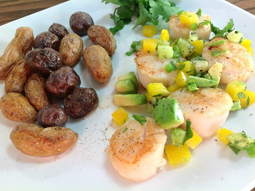 Kiwi Avocado Salsa Over Scallops with Roasted Fingerling Potatoes