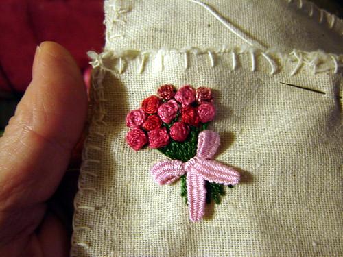Raised cross stitch flower