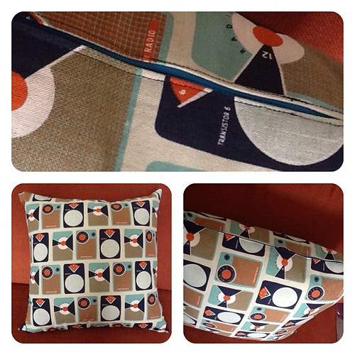 First cushion cover with zip. Fabric from @stitch_a_licious, confidence from @upknitcreek