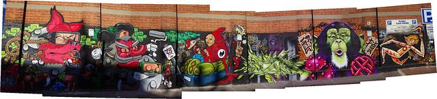 Panorama of best Adelaide street art wall