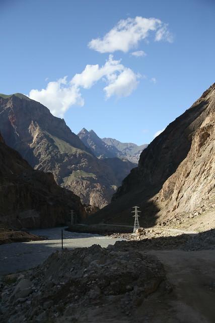 Sun setting along the Pamir Highway