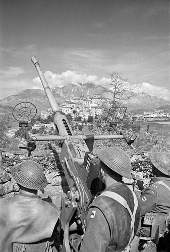 New Zealand L60 Bofors anti-aircraft gun near Cassino Italy 10th March 1944.