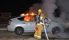 LAFD Quenches Hybrid Sedan Fire on 134 Freeway