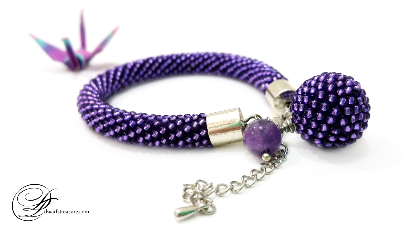 unique ultraviolet beaded crochet rope bracelet and origami paper crane