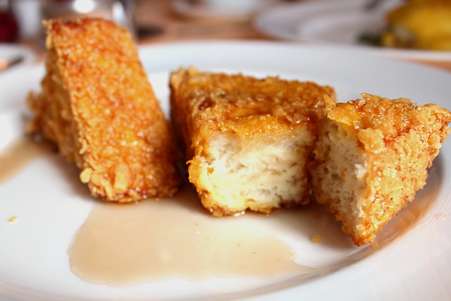 James Beard's French Toast with a crumbled-up corn flake coating