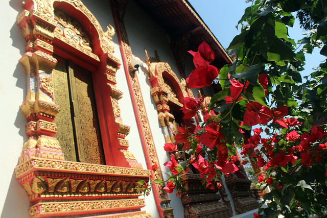 Local temple and flowers in Thailand