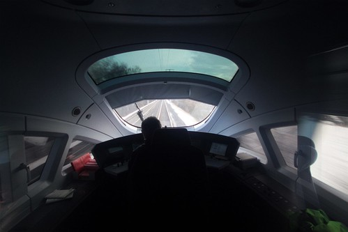 Open view from the front of a DB ICE 3 train